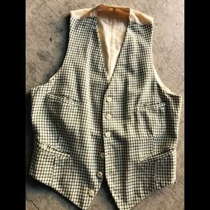 Vintage Small Check Lined Wool Vest